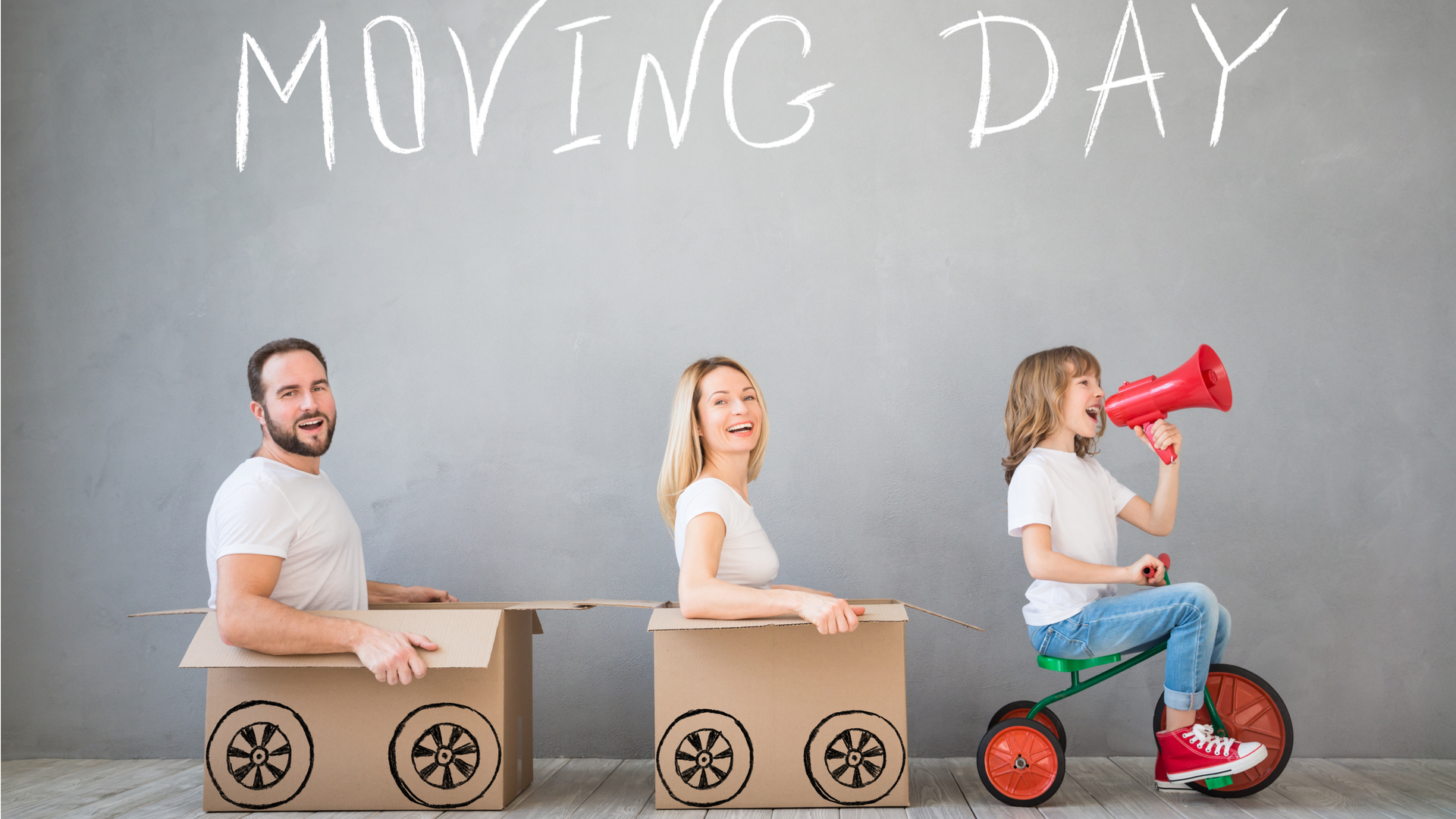 Photo of happy familly moving house