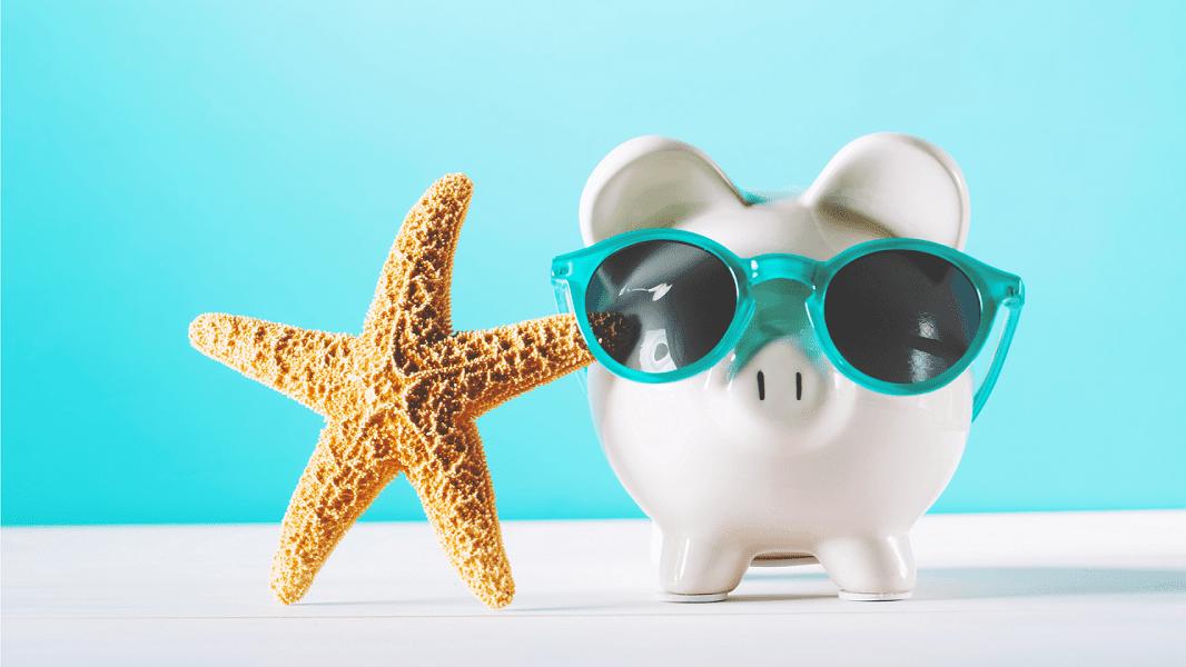 Photo of Starfish and Piggy Bank whereing sunglasses